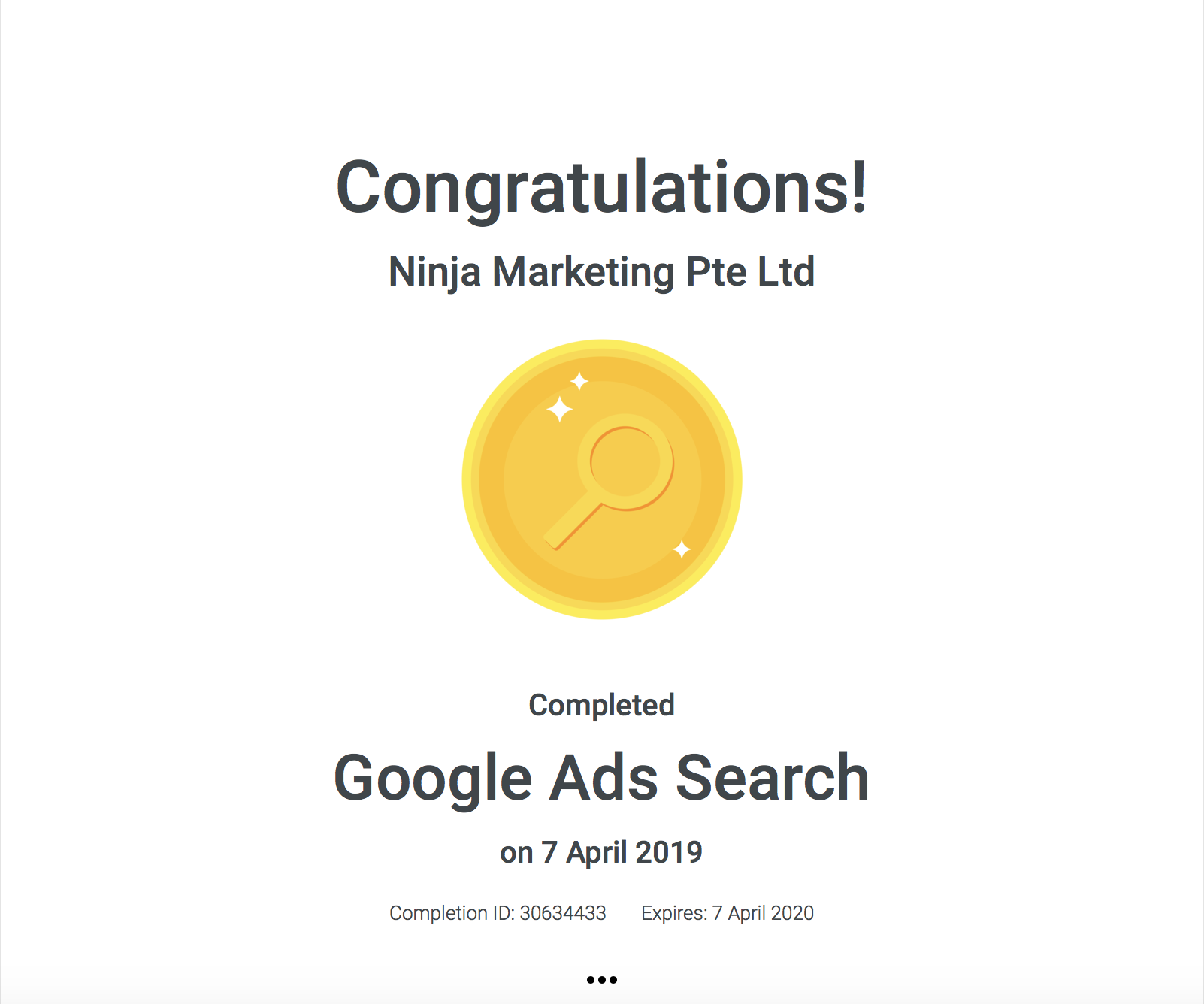 Ninja Marketing - Google Ads Search Achievement Award