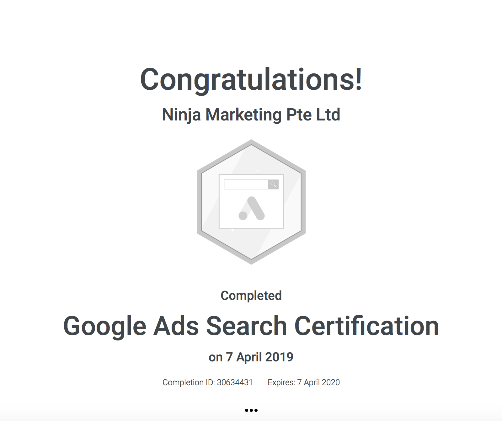 Ninja Marketing - Google AdWords Search Certification